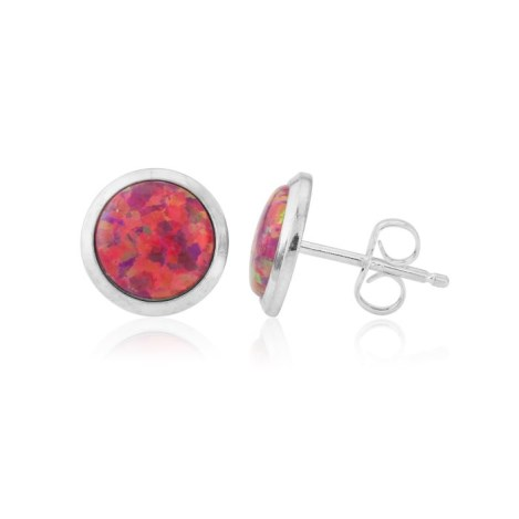 8mm Red Opal Stud Earrings | Image 1