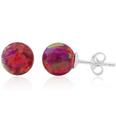6mm Red Opal Bead Stud Earrings | Image 1