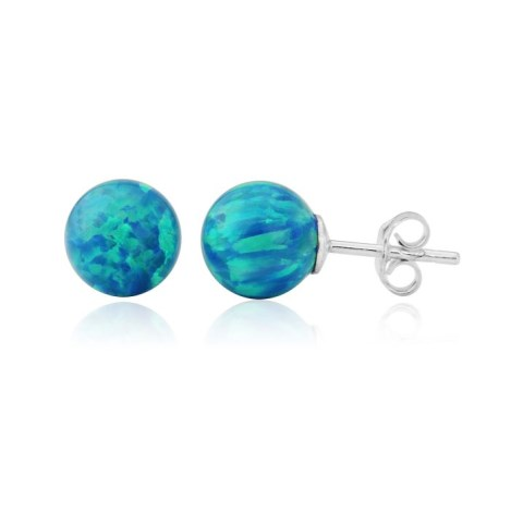6mm Aqua Opal Bead Stud Earrings | Image 1
