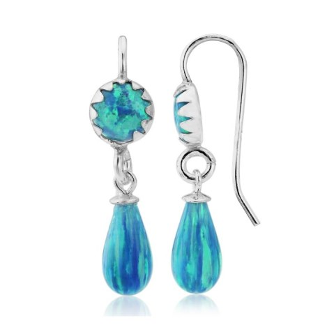 Dark Blue Opal Drop Earrings | Image 1