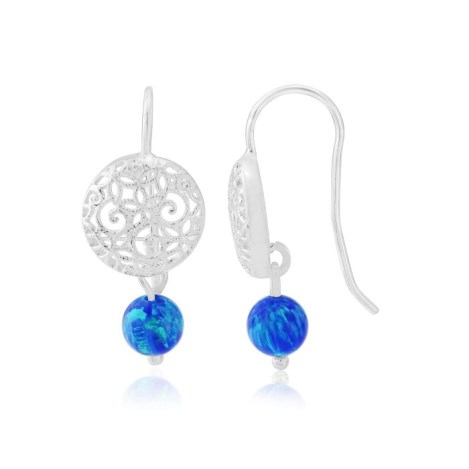 Silver and Blue opal  Filigree Earrings | Image 1