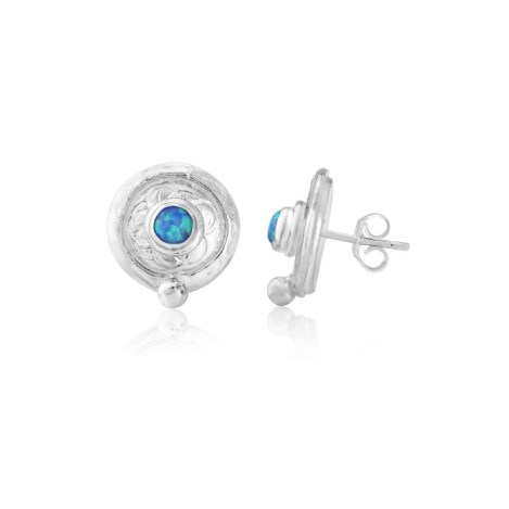 Sterling Silver Blue Opal Stud Earrings | Image 1