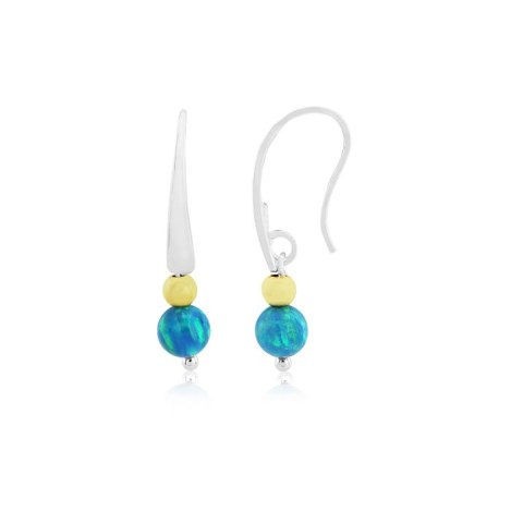 Silver and Gold Opal Drop Earrings | Image 1