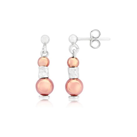 Silver and Rose Gold Drop Earrings | Image 1