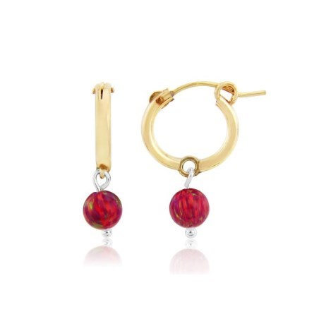 Small 14ct Gold Filled Red Opal Hoop Earrings | Image 1