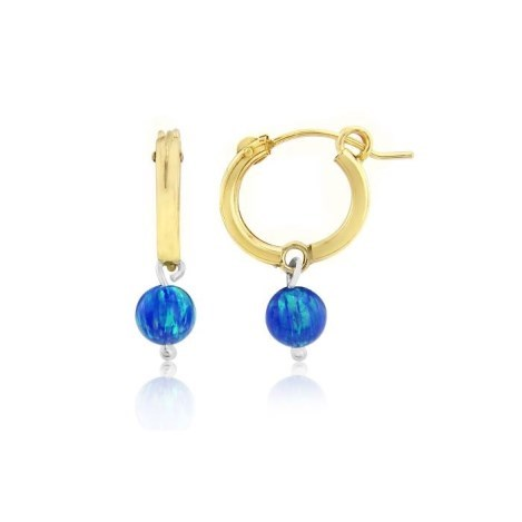Small 14ct Gold Filled Dark Blue Opal Hoop Earrings | Image 1