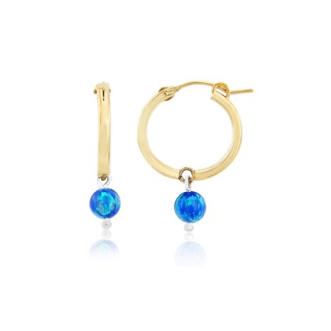 Large 14ct Gold Filled Dark Blue Opal Hoop Earrings | Image 1