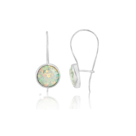 Contemporary Silver Round White Opal Drop Earrings | Image 1