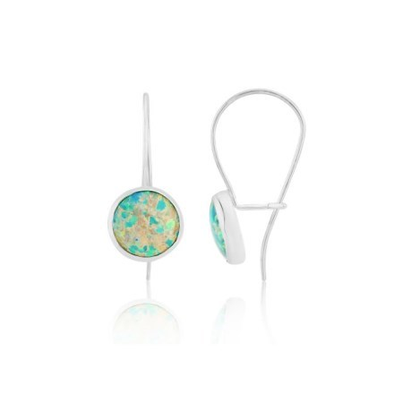 Contemporary Silver Round Green Opal Drop Earrings | Image 1