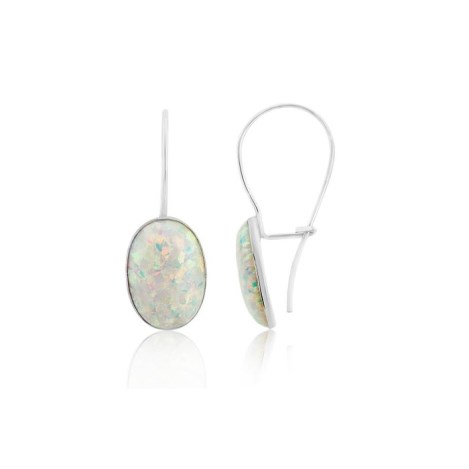 Contemporary Silver Oval White Opal Drop Earrings | Image 1