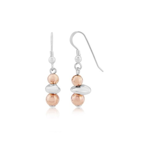 Rose Gold and Silver long Nugget Earrings | Image 1