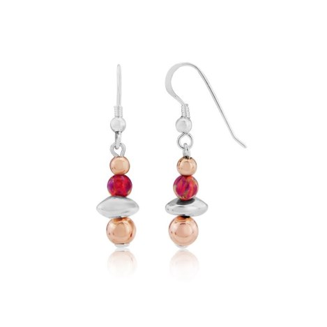 Rose Gold and Silver Nugget Opal Drop Earrings | Image 1