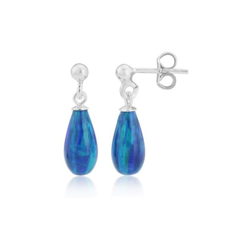 6x12mm Dark Blue Teardrop Opal Silver Drop Earrings | Image 1