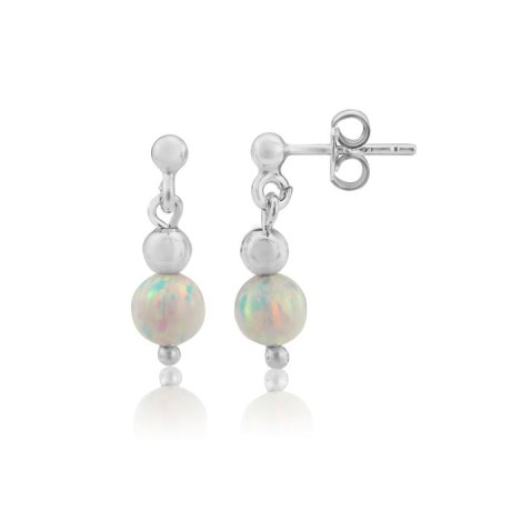 Silver and Opal Drop Earrings | Image 1