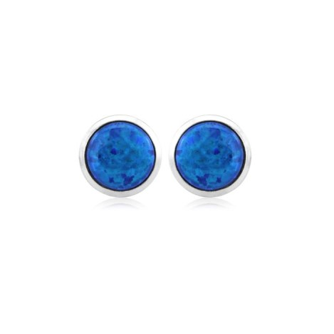 8mm Midnight Blue Opal Stud Earrings | Image 1