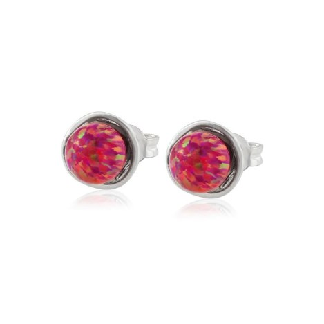 6mm Silver and Opal Stud Earrings | Image 1
