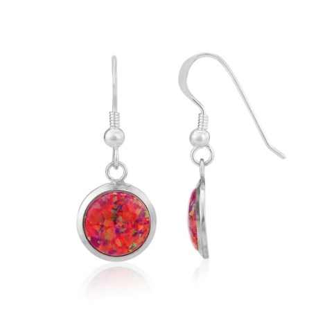 10mm Red Opal Drop Earrings | Image 1