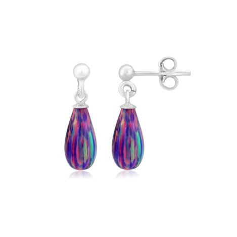Purple Teardrop Opal Silver Drop Earrings | Image 1