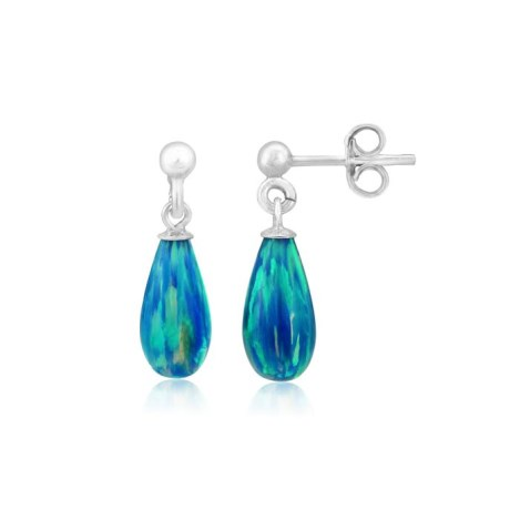 6x12mm Aqua Teardrop Opal Silver Drop Earrings | Image 1