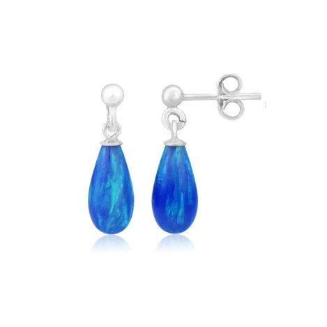 Blue Teardrop Opal Silver Drop Earrings | Image 1
