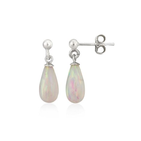 White Teardrop Opal Silver Drop Earrings | Image 1