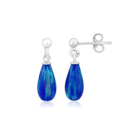 Midnight Blue Teardrop Opal Silver Drop Earrings | Image 1
