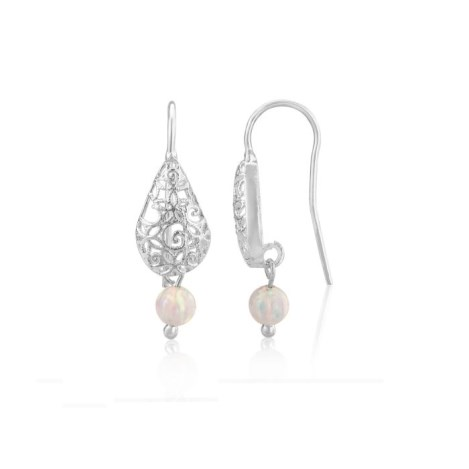 Filigree and White Opal Drop Earrings | Image 1