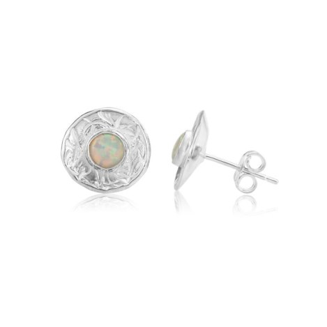 Contemporary Stud Earrings with White Opals | Image 1