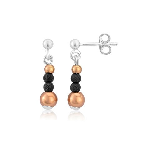 Rose Gold and Oxidized Silver Drop Earrings | Image 1