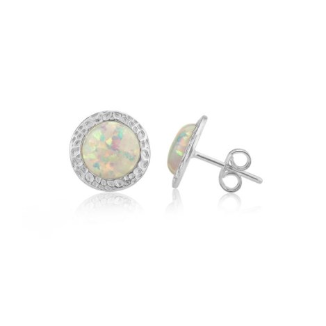 6 mm White Opal Hammered Stud Earrings | Image 1