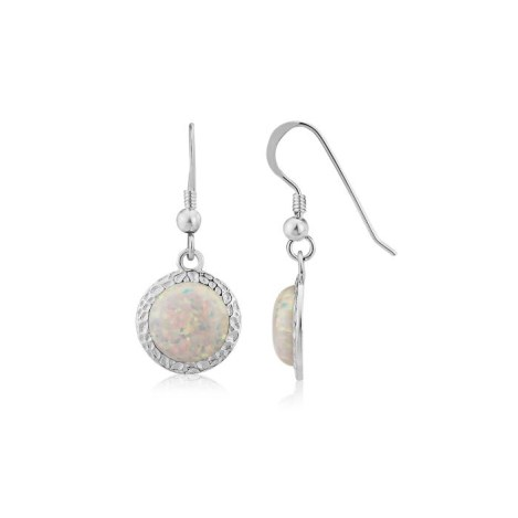 8mm White Opal Hammered Drop Earrings | Image 1