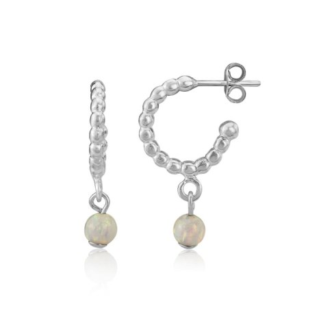 Pearl wire Hoop Earrings with White Opal Beads | Image 1