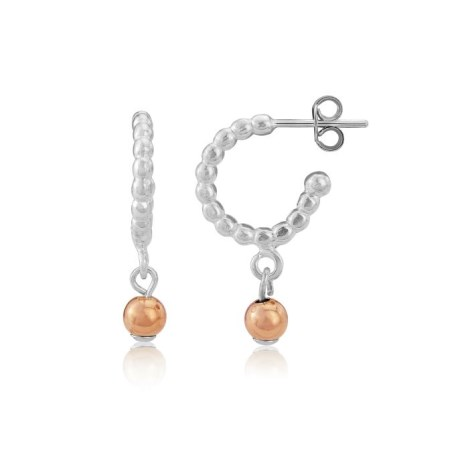 Pearl wire Hoop Earrings with Rose Gold Beads | Image 1