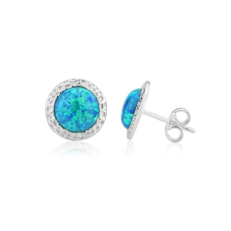 8 mm White Opal Hammered Stud Earrings | Image 1