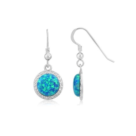 10mm Aqua Opal Hammered Drop Earrings | Image 1