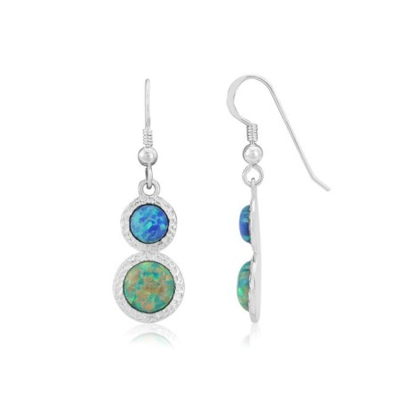 Green and Blue Opal Hammered Drop Earrings | Image 1