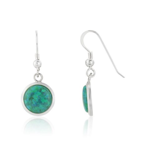 10mm Forest Green Opal Drop Earrings | Image 1