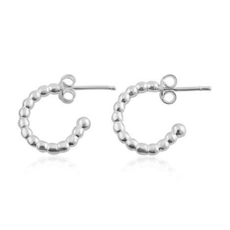 Silver Pearl Wire Hoop Earrings | Image 1