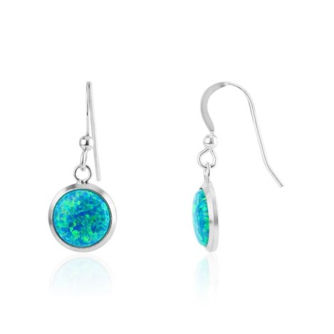 8mm Aqua Opal Sterling Silver Drop Earrings | Image 1