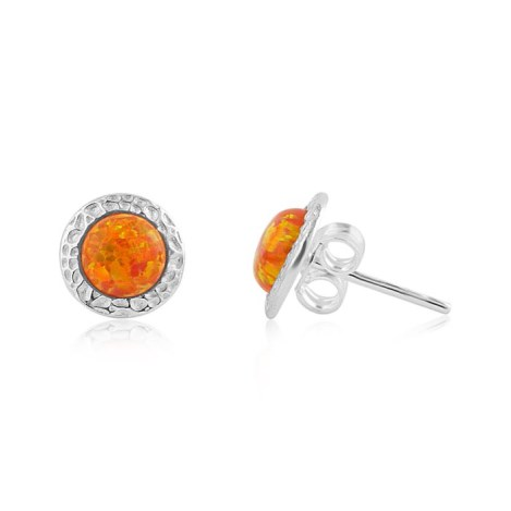 6mm Orange Fire Opal Hammered Stud Earrings | Image 1
