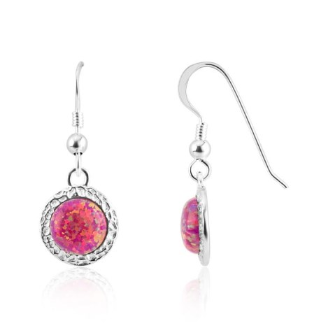 8mm Red Opal Hammered Drop Earrings | Image 1