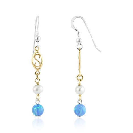 Gold And Silver Opal Pearl Drop Earrings | Image 1