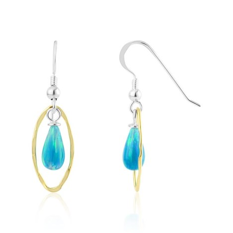 Silver And Gold Aqua Opal Drop Earrings | Image 1