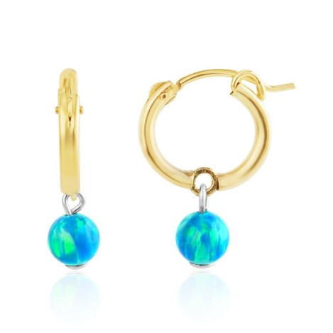 Small Gold Filled Hoop Earrings with Aqua Opal | Image 1