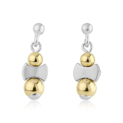 Contemporary Gold and Silver Drop Earrings | Image 1