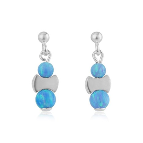 Blue Opal and Silver Drop Earrings | Image 1