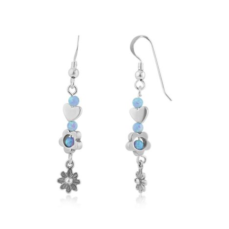 Blue Opal and Silver Large Drop Earrings | Image 1