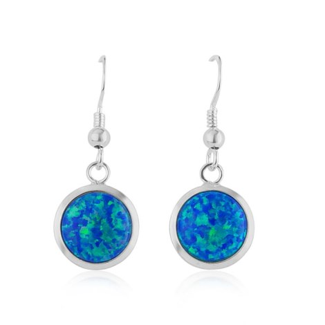 10mm Dark Blue Opal Sterling Silver Drop Earrings | Image 1