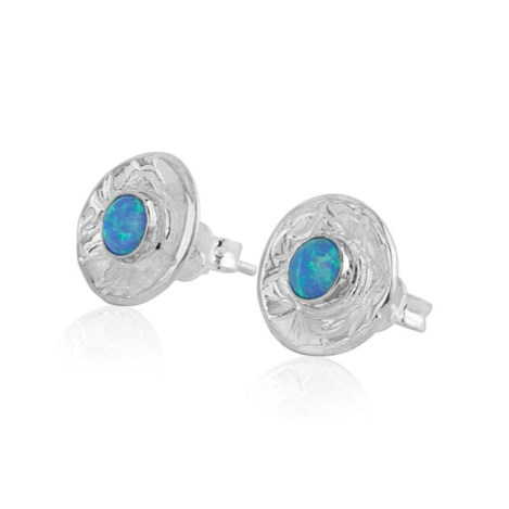 Contemporary Stud Earrings with Blue Opals | Image 1