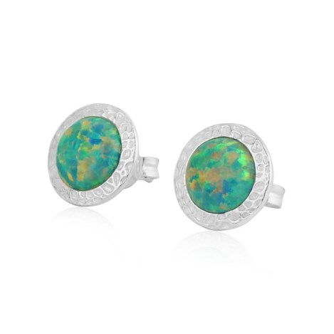 10mm Green Opal Hammered Stud Earrings | Image 1